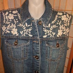 Ruff Hewn embroidered jean vest, NEW, XL